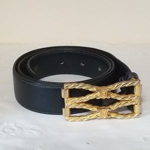 Celine Leather Belt Navy Blue Gold Tone Buckle XS